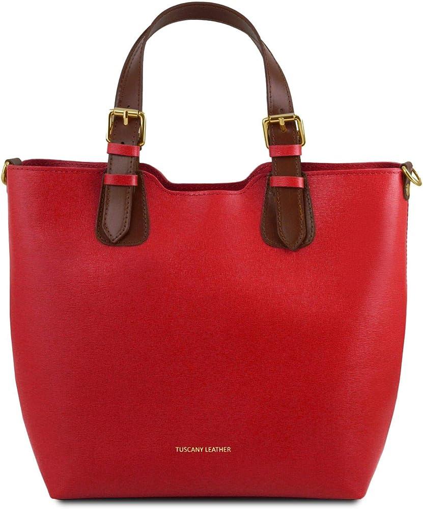 Tuscany leather, borsa a mano per donna, in pelle sintetica, rossa TL141696