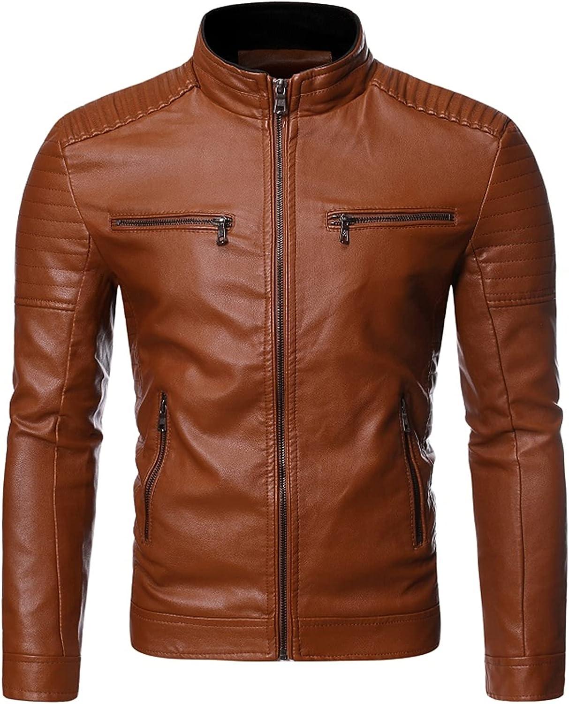 YUIJ Leather Jackets Men,Fashion Trend Zipper Decoration Motorcycle Jacket,Slim Fit