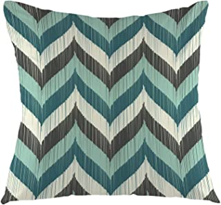 oFloral Chevron Pillow Cover,Vintage Wave Teal and Grey Brown Aqua Chevron Zigzag Pillowcase Square Cushion Case for Sofa Couch Car Bedroom Living Room Home Decorative 18