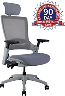CLATINA Ergonomic High Swivel Executive Chair with Adjustable Height Head 3D Arm Rest Lumbar Support and Upholstered Back for Home Office (Gray Mesh/High Back)