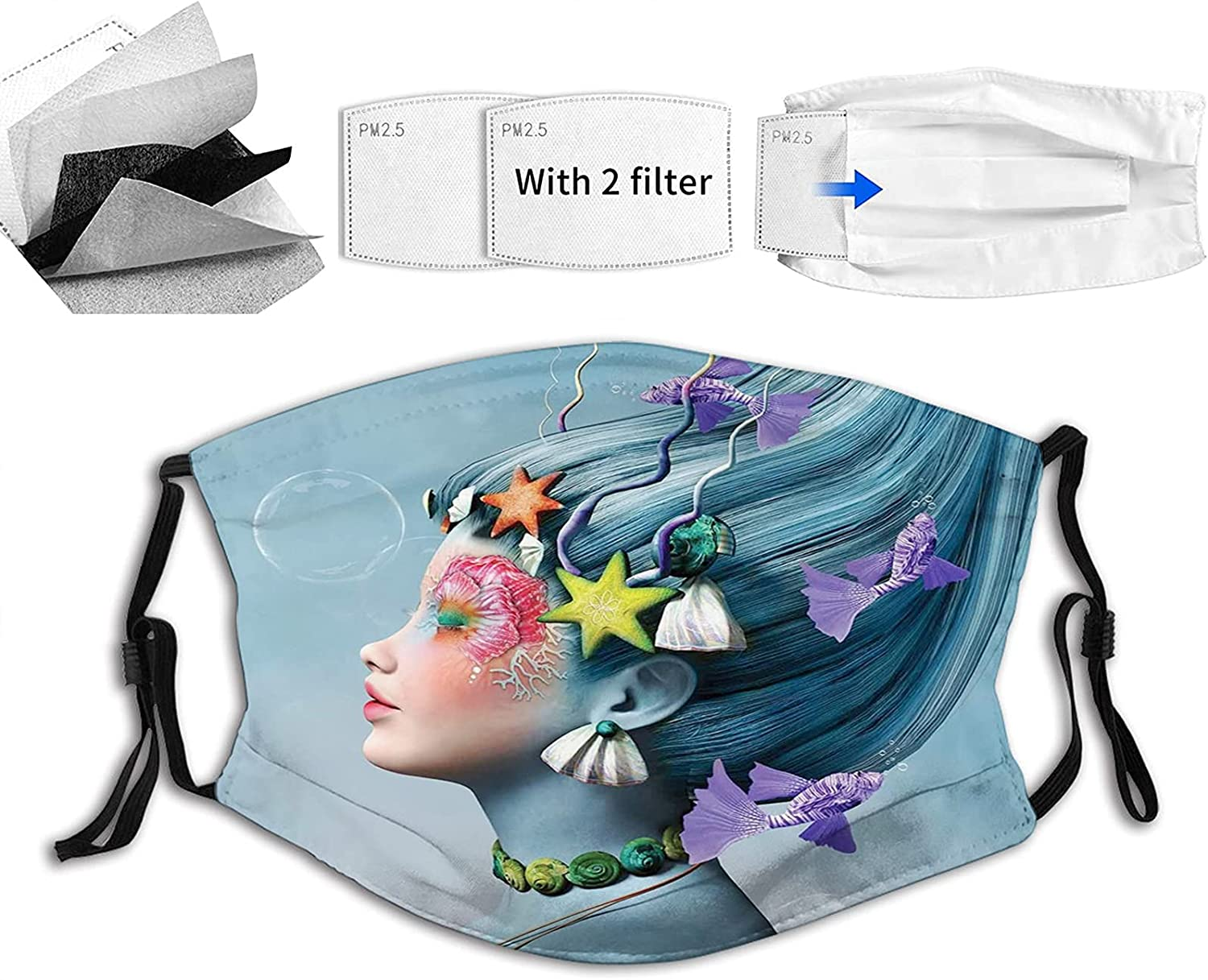 Comfortable Max 72% OFF specialty shop Printed mask Woman with up Underwater Themed Ha Make