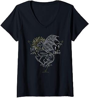 Femme Harry Potter Thestral Line Art T-Shirt avec Col en V