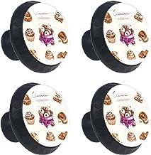 4 stks Kabinet Knoppen Lade Dressoir Handvatten Aquarel Chocolade Collectie Heerlijke Cupcakes voor Kamer, Keuken, Kantoor...