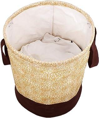 Kuber Industries Metalic Printed Waterproof Canvas Laundry Bag, Toy Storage, Laundry Basket Organizer 45 L (Brown) -KUBMART27