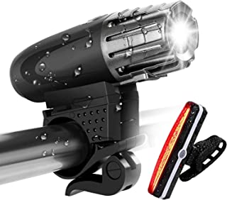 Gluckluz Bike Light Set Waterproof Bicycle Front Rear Light Rechargeable Super Bright Lights for Cycling Camping Hiking Sa...