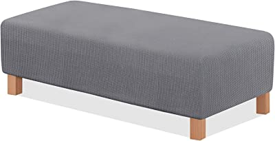 TAOCOCO Ottoman Cover Rectangular Storage Ottoman Slipcover Stretch Footrest Stool Covers Furniture Protectors Spandex Jacquard Fabric with Elastic Band Light Grey