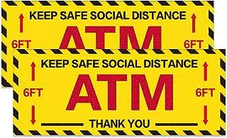 "SICOHOME Social Distancing Floor Decals,2pcs,5.9""x 14.5"" Social Distanc Sign for Bank,ATM"