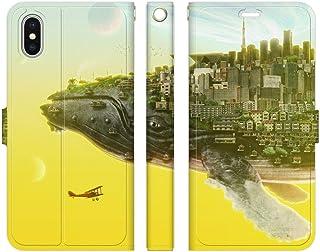 ブレインズ iPhoneXS iPhoneX 手帳型 ケース カバー くじらの惑星 ウエダマサノブ クジラ ファンタジー 動物 縄文じいさん 鯨 風景 景色 イラスト 絵画 デザイナー 街 建物
