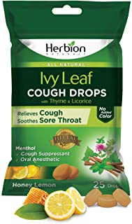 Herbion Naturals Cough Drops with Ivy Leaf, Thyme & Licorice Extracts – 25 Drops – Herbal Expectorant – Relieves Cough, So...