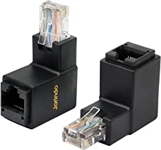 CERRXIAN 90 Degree RJ45 Ethernet LAN Male to Female Cat5 / Cat5e / Cat6 Extender Adapter(2-Pack) Black,(Up Angle)