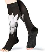 Compression Yoga Socks Pilates Non Slip Sticky Toeless with Grips 20-30mmhg