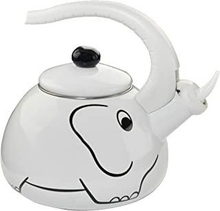 HOME-X White Elephant Whistling Tea Kettle, Animal Teapot, Kitchen Accessories/Décor