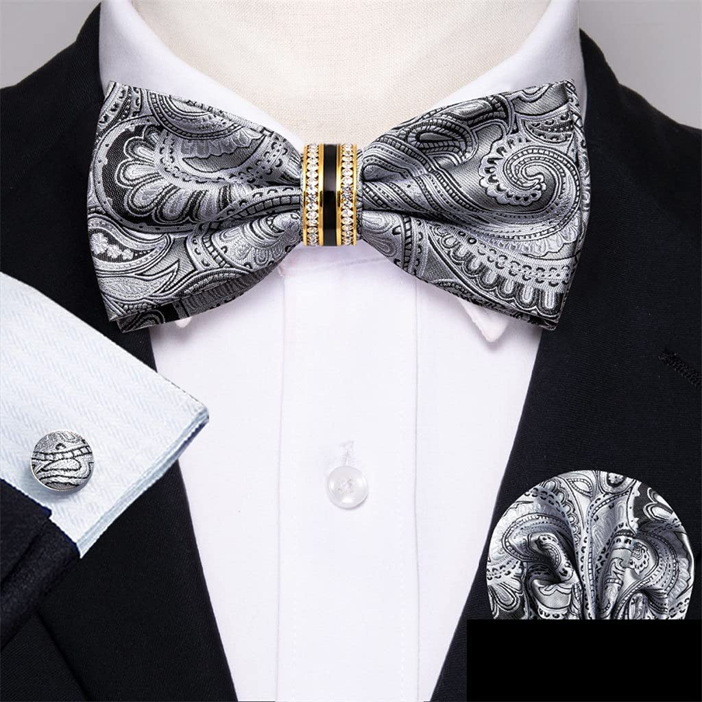 LQGSYT Sliver Silk Pre-Bow Tie for Men Wedding Accessorie Adjustable Butterfly Handky Removable Diamond Ring Set (Color : Sliver, Size : One Size)