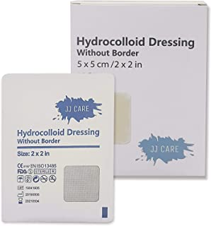 """JJ CARE [Pack of 10] Thin Hydrocolloid Dressing Without Border 2"""" x 2"""", Colloidal Patches, Sterile Adhesive Patches Bandages, Wound Dressing & Bed Sore Pads for Advanced Healing"""