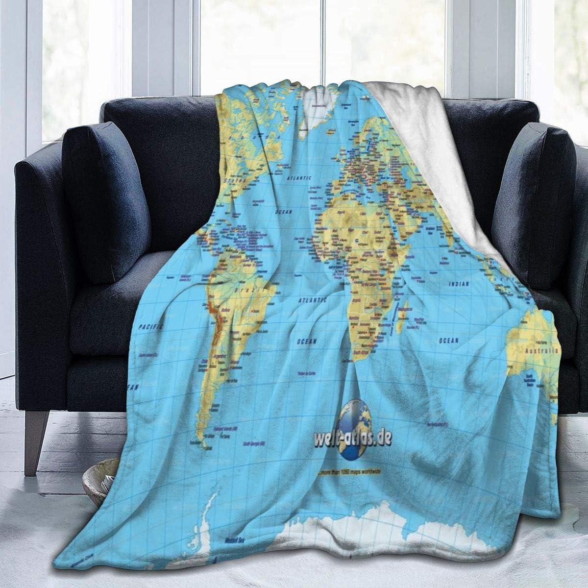 CLQQP Throw Blanket Best World Fleece Map 送料無料新品 Bab ◆セール特価品◆ Super Soft
