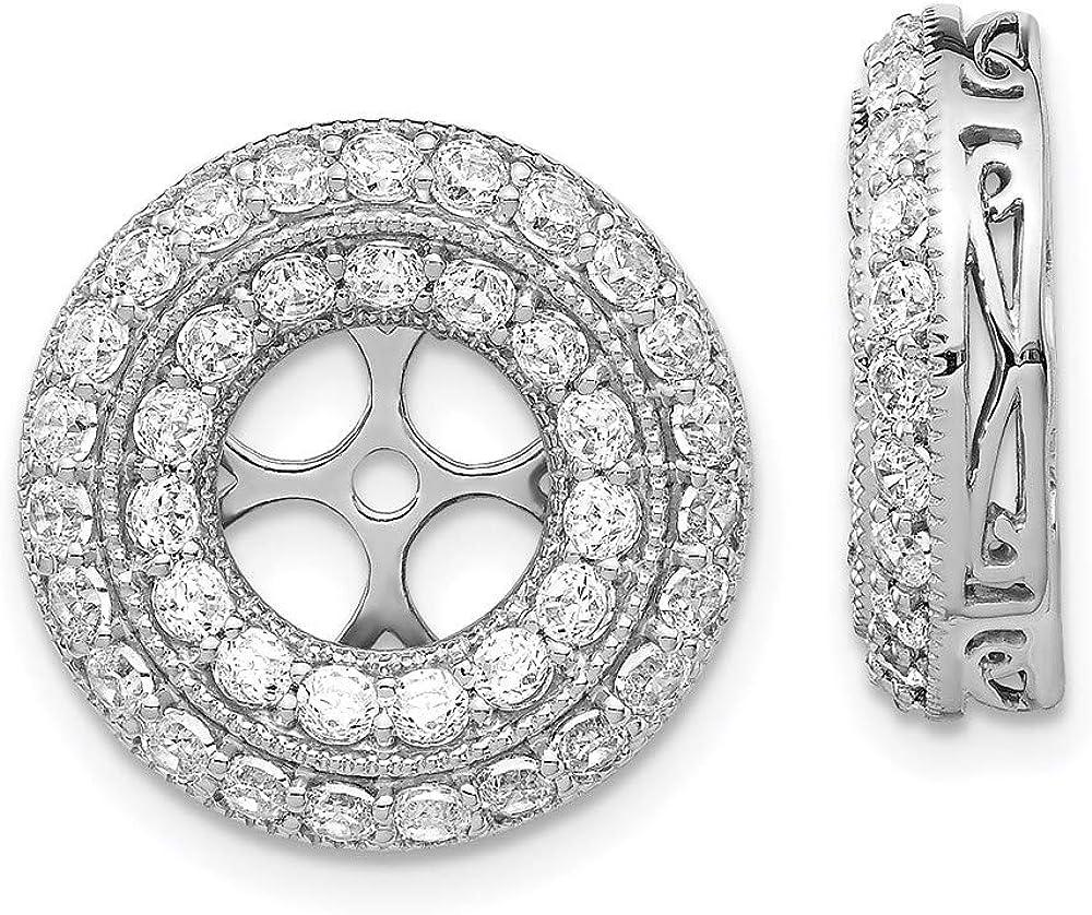 Earrings 14K White Gold Jackets & Enhancers Diamond Round 16 mm