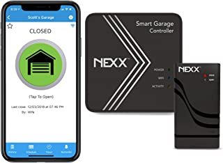 Nexx Smart Wi-Fi Controller NXG-200 - Remotely Control Existing Garage Door Opener with Nexx App, Works with Amazon Alexa, Google Assistant, Siri, SmartThings, No Hub Required, Black