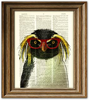 CollageOrama Crested Penguin Smarty Pants penguin with red glasses illustration beautifully upcycled dictionary page book art print,,8.5 x 11 Inch