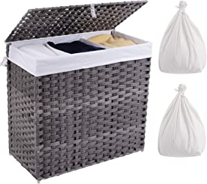 Crehomfy Laundry Hamper with Lid and 2 Liner Bag, Synthetic Rattan Wicker Handwoven Laundry Basket with Handle, Foldable Dirty Clothes Hamper, Laundry Sorter for Laundry Room, Gray (3 Section 130L)