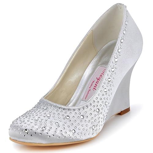 c8a057fff2a5 ElegantPark Women Wedges Heel Rhinestones Closed Toe Pumps Satin Wedding  Evening Dress Shoes