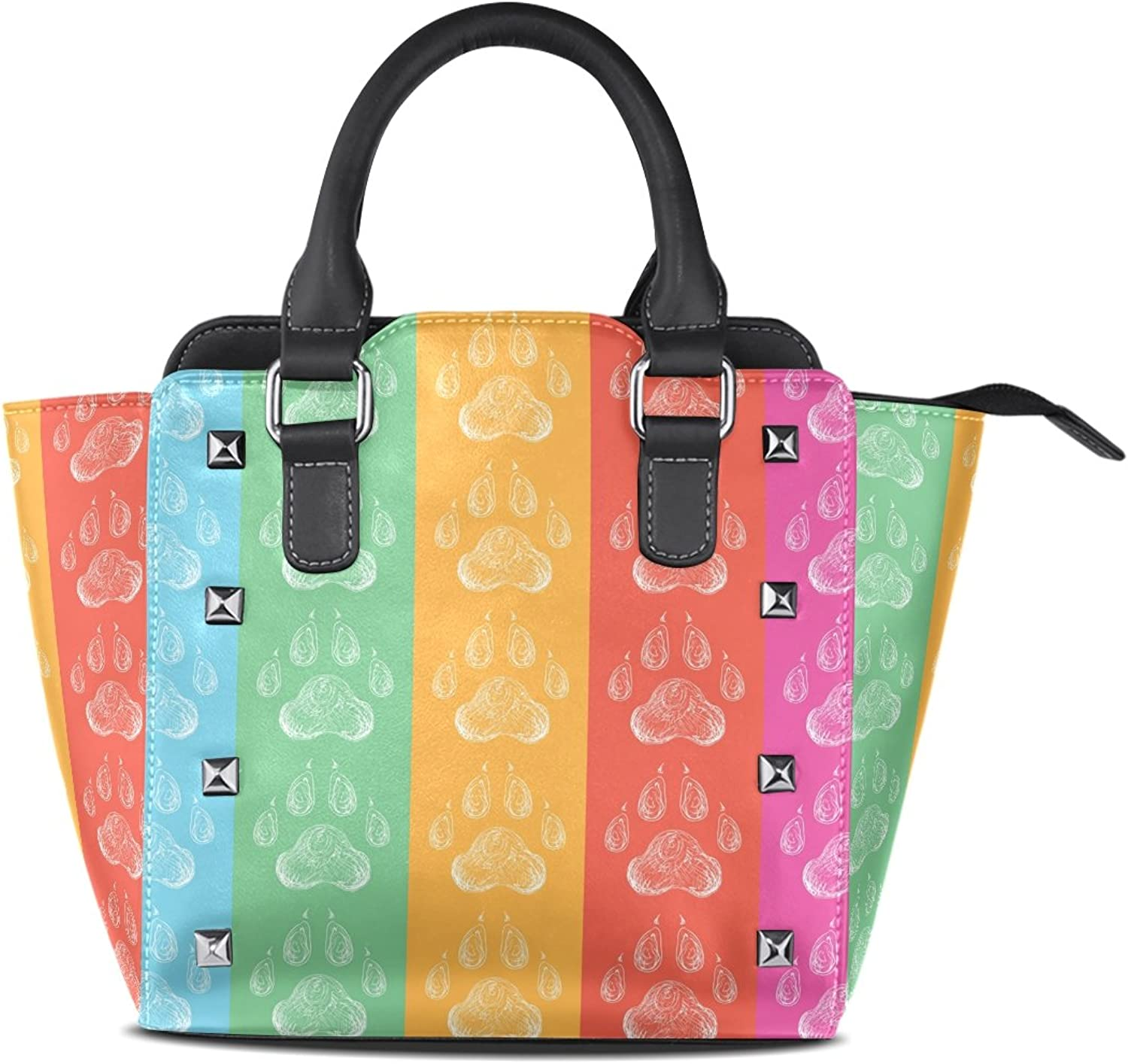 Sunlome Dog colorful Paws Footprints Print Women's Leather Tote Shoulder Bags Handbags