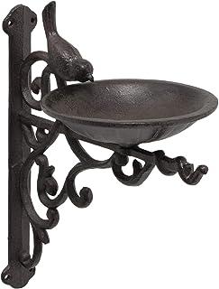 CasaJame Bebedero para pájaros de hierro fundido para montaje en pared, cuenco con pájaro marrón oscuro, longitud 23 cm, a...