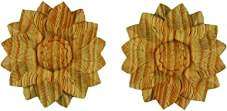 Legacy Wood Rosettes, Set of Two Large Wooden Furniture Onlays. Each Piece Individually Hand Carved in Solid Natural Pinewood. 4 in diam. x ½ in Thick