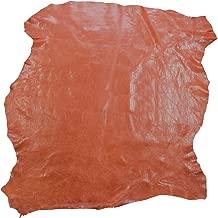 Zerimar Piel Cuero Napa | Retales de Piel para Manualidades | Piel para Artesanos | Color: naranja | Medidas: 80x70 cm.