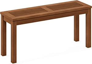 Furinno FG181110-C Tioman Hardwood Patio Furniture Outdoor Backless Bench in Teak Oil, Natural