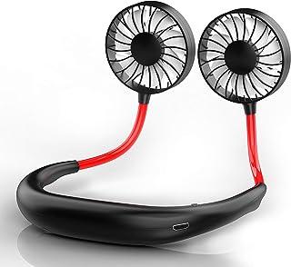 扇風機首掛け ハンズフリー ポータブル 7枚羽根 360°角度調整 USBファン