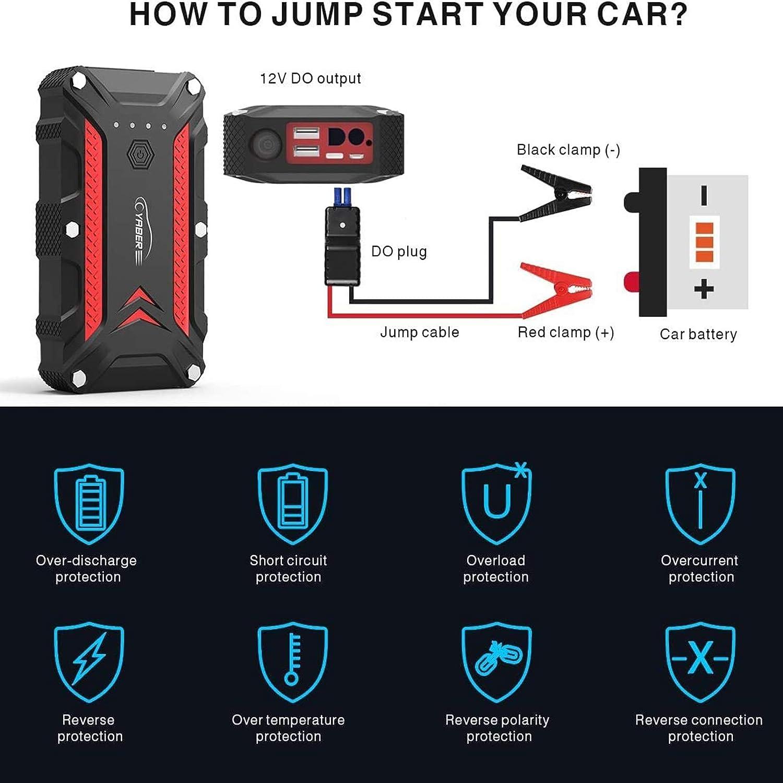 Arrancador de coche YABER 1200 A bater/ía externa de hasta 7,5 L de gasolina o motor di/ésel de 6 l