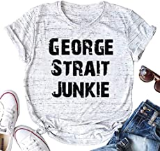 AIMITAG County Music T Shirt George Strait Graphic Tees for Women Letter Print Funny Concert Shirts Summer Casual Tops