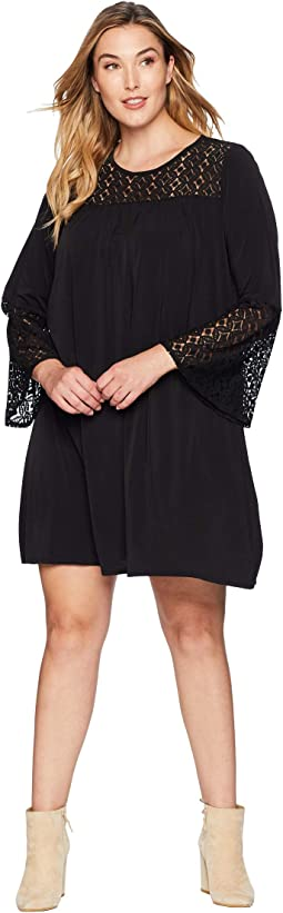 Plus Size Lace Insert Bell Sleeve Dress