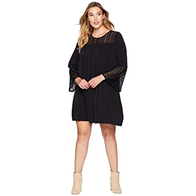 MICHAEL Michael Kors Plus Size Lace Insert Bell Sleeve Dress (Black) Women