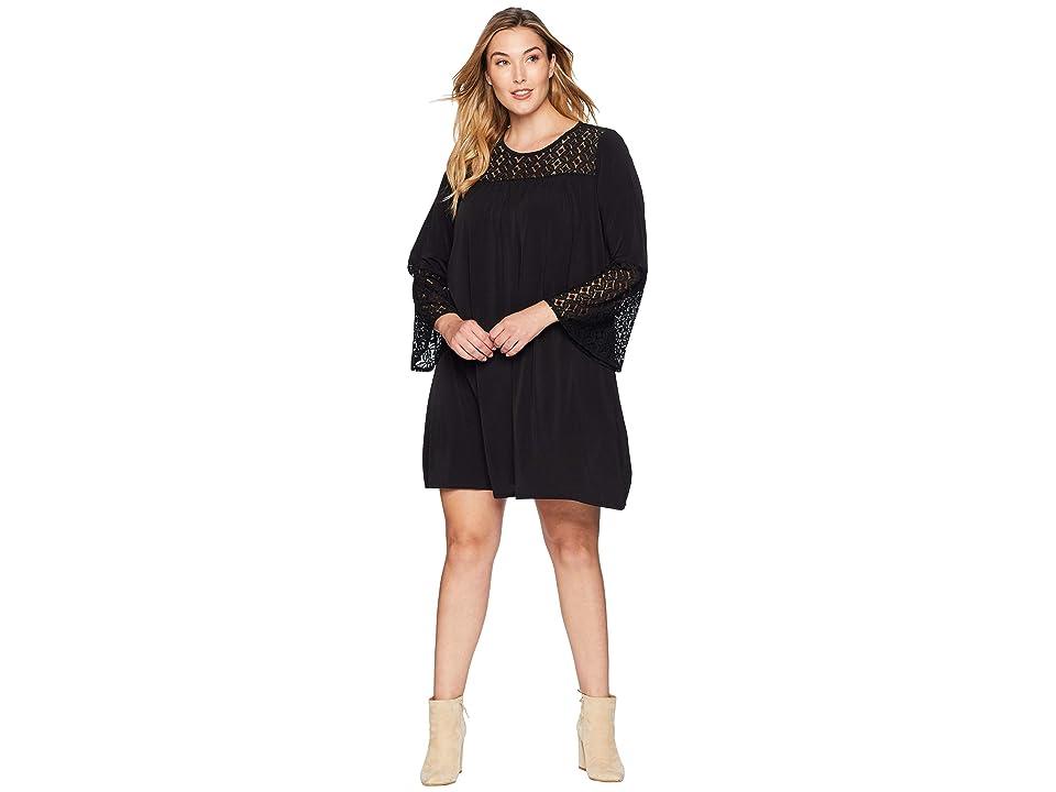 MICHAEL Michael Kors Plus Size Lace Insert Bell Sleeve Dress (Black) Women