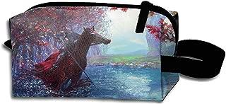 JONHBKD Gentleman Colorful Horse Man Landscape Portable Travel Cosmetic Bags Makeup Pouch Clutch Bag