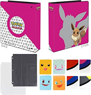 Totem World Eevee 3-Ring Binder with 25 9-Pocket Pages and 1 Mini Album Inspired Poke Ball, Pikachu, Charmander, Squirtle, or Bulbasaur - Perfect for Pokemon Cards