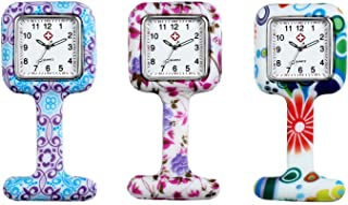 Avaner - Reloj de Enfermera Silicona 6-10 Piezas Reloj Médico de Colores, Redondo Reloj Prendedor de Broche de Túnica de Paramédico Doctor, Reloj de Bolsillo,Regalo para Enfermera