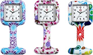 Avaner Silicon Vintage Floral Square Nurses Lapel Pin-on Brooch Analog Quartz Fob Watch Fashion Nurse Clip-on Fob Jelly Hanging Pocket Watch