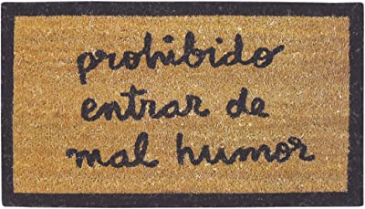 Laroom Doormat with Spanish-Language Design, Jute, Red, 120 x 180 cm