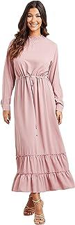 فستان ماكسي طويل بخصر عالي مزود برباط للنساء