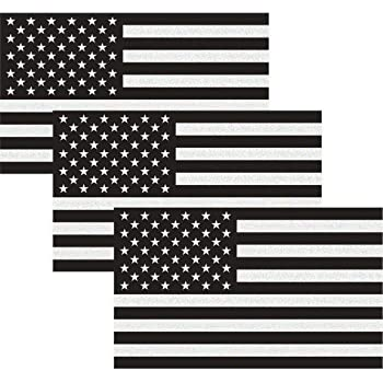 """CREATRILL Reflective Subdued American Flag Sticker 3"""" X 5"""" Tactical Military Flag USA Decal Great for JEE, Ford, Chevy or Hard Hat, Car Vinyl Window Bumper Decal Sticker (3-Pack)"""