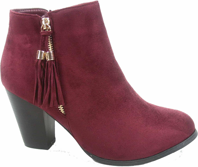 Top Moda Taurus-5 Women's Fashion Almond Toe Fringe Tassel Chunky High Heel Booites