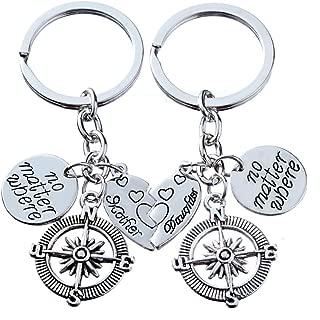2pcs Mother Daughter Key Chain Set No Matter Where Compass Split Broken Heart Family Gift for Women Girl (Style A)