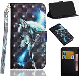 Motorola E5 Play GO Case,JYZR [3D Painting] PU Leather Wallet Flip Folio Case with Card Slot Cash Cover for Motorola Moto E5 Play GO 2018 (Not Moto E5 Play),Wolf