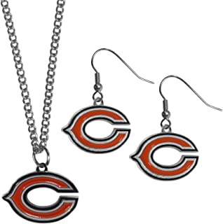 Siskiyou Sports NFL unisex-adult Dangle Earrings and Chain Necklace Set