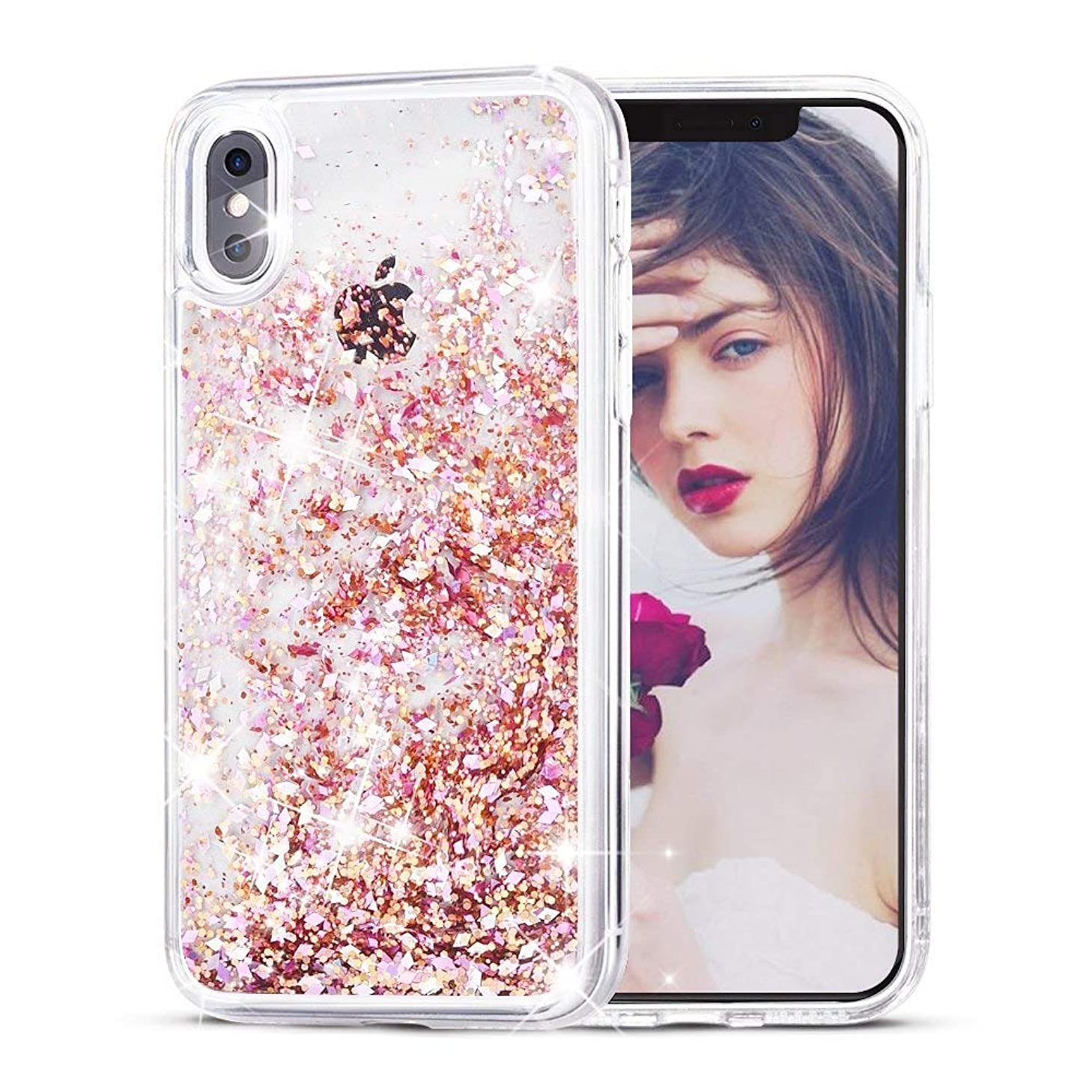 SUPVIN Creative Glitter Liquid Sparkle Bling Bumper Case Clear [TPU+PC] Floating Quicksand Protective Grily Cute Phone Cover Compatible for iPhone X/iPhone 10 (Pink) (Renewed)