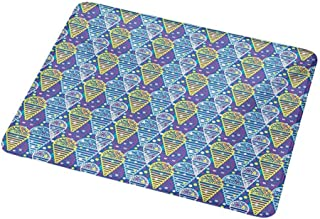 Personalized Custom Gaming Mouse Pad Ice Cream,Memphis Style Eighties and Nineties Pattern with Geometrical Pop Art Funky Flavor,Personalized Design Non-Slip Rubber Mouse pad 9.8