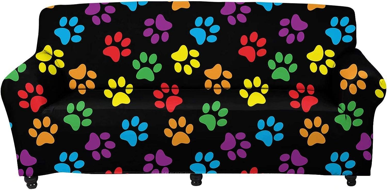 Forchrinse Max 75% OFF Colorful Puppy Paw Cute Non Sofa Slipcover Store Stretch Sl