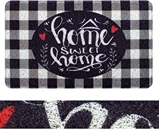 RORA PVC Outdoor Indoor Welcome Doormat Black White Buffalo Check Rugs Home Sweet Home Plaid Rug Rubber Backing Non-Slip E...